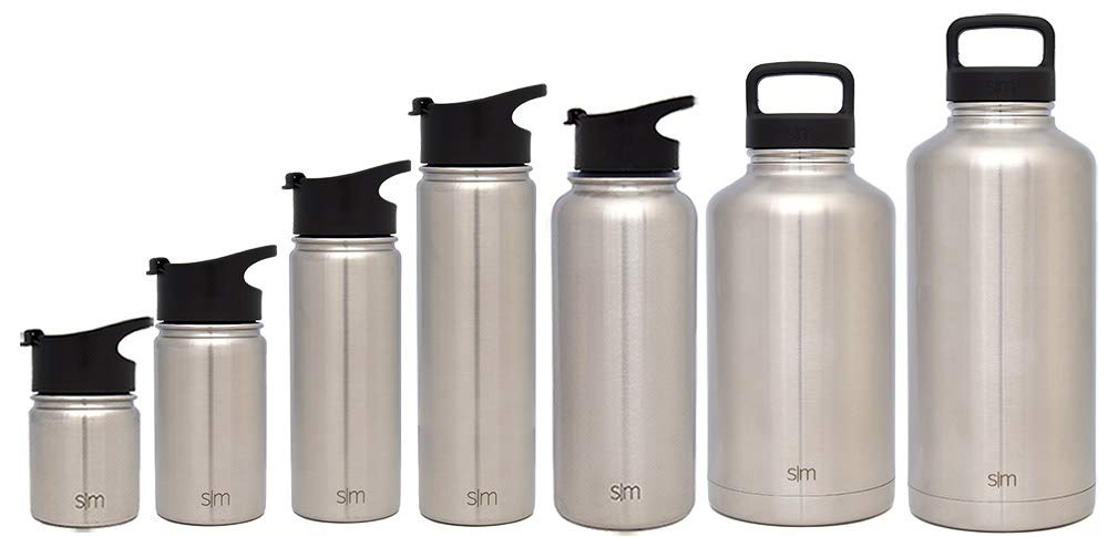 Simple Modern 32 oz Summit Water Bottle - Stainless Steel Hydro Metal Flask +2 Lids - Wide Mouth Double Wall Vacuum Insulated Silver Large 2 Liter Half Gallon Cold Leakproof Thermos - Simple Stainless
