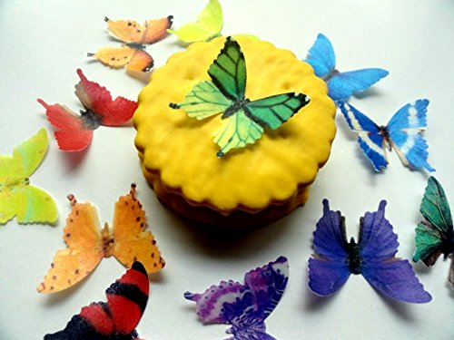Small Assorted Set of 12 Edible Butterflies - Cake and Cupcake Toppers, Decorations