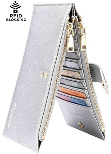 Travelambo Womens Walllet RFID Blocking Bifold Multi Card Case Wallet with Zipper Pocket (synethic leather silver)