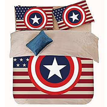 Newrara Super Hero Captain America Fleece Bettwäsche Spannbetttuch