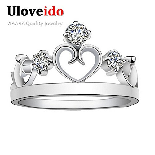 Myn Jewelry Silver Jewelry Crown Ring Fashion Crystal Jewerly topaze mystique Band Zircon Crystal Love Heart Vintage Wedding J413