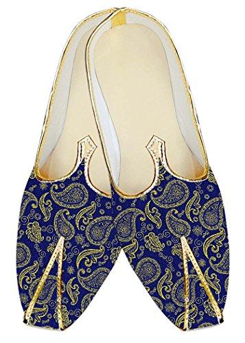 Seda Zapatos Boda MJ18320 Paisley Diseño Azul Hombres INMONARCH de Yute regio de 0qpP8wFE