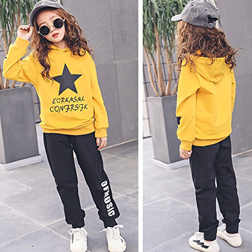 M&A Girls Autumn Casual Hoodie + Pant Set 2 Piece Tracksuit for 5-13T by M&A (Image #5)