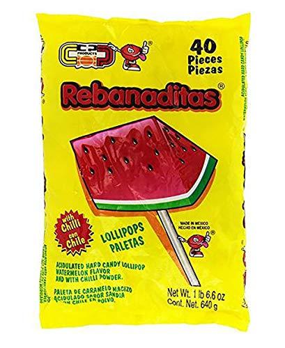 Dulces Vero Vero Rebanadita Paletas Sabor Fresa Con Chile Mexican Hard Candy Chili Pops 40 Pc (Mexican Watermelon Suckers)