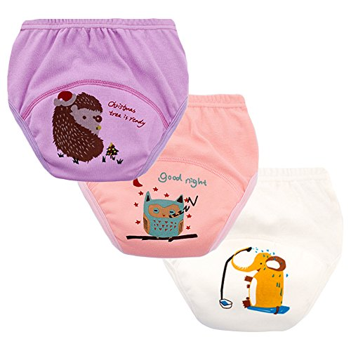 (Enfants Chéris Set of 3 Toddler Girls Reusable Toilet Training Pants Cotton Nappy Underwear, Size 24 Months Girls)