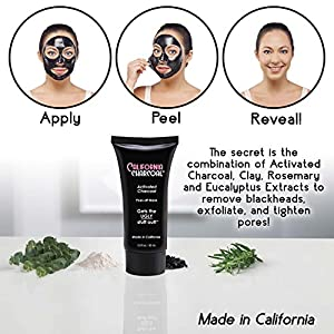 California Charcoal Activated Charcoal Mask by BulbHead, Blackhead Remover, Pore Minimizer, & Deep Cleansing Black Mask (1 Pack)