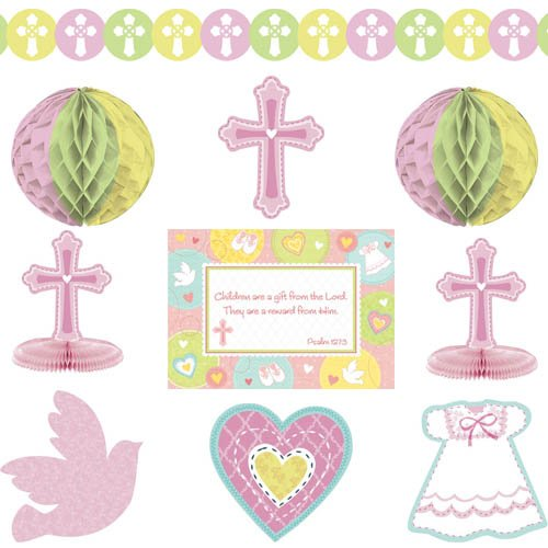 Amscan Sweet Christening Pink Paper Decorating Kit, 10 Ct. | Party Decoration]()