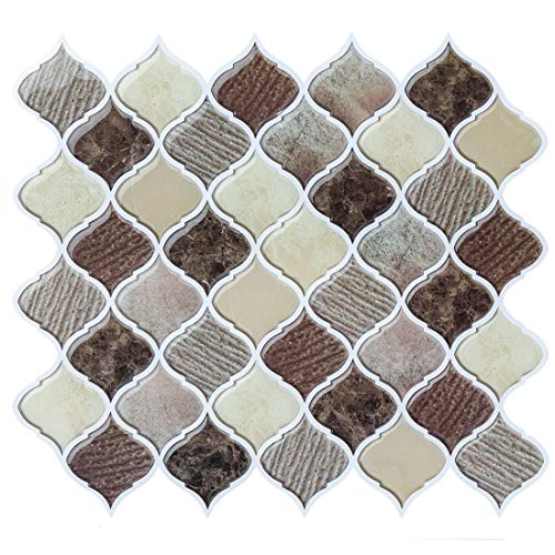 Peel and Stick Wall Tile for Kitchen BacksplashBrown Arabesque Tile BacksplashKitchen Backsplash Tiles Peel and Stick Wall Stickers4 Sheets