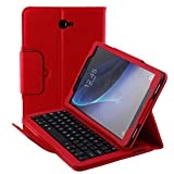 Samsung Galaxy Tab A 10.1 Case SM-T580 SM-T585 Keyboard Wireless Bluetooth Detachable Keyboard Magnetic Folio with Auto Sleep Wake Multi-Angle Stand Slim Leather Protective Cover 2016 (Red)