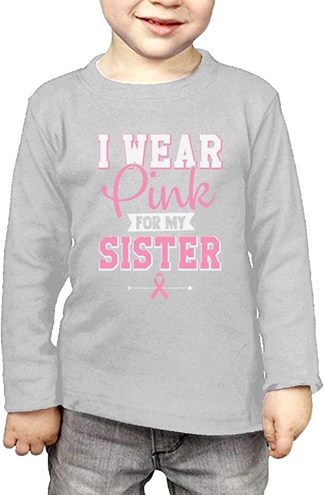 Qiop Nee Long Sleeve Crew Neck Shirts I Wear Pink for My Sister for Girl