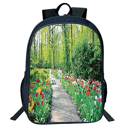 - DKFDS Backpacks Unisex School Students Black Country Decor,Tulips in Keukenhof Gardens Path Along Colorful Flowers Trees Nature Picture Kids,