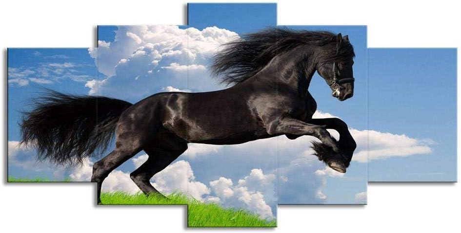 Swlyddm Impresión en Lienzo 5 Piezas de Cuadros de Pintura Cielo Azul Corriendo Animal Caballo Oscuro - Arte de la Pared del Lienzo Murales Modernos Decoración de la Sala de Estar Listo para Colgar