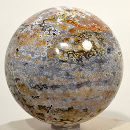 63mm Ocean Jasper Sphere Multicolor Natural Orbicular Orbs Mineral Ball Sparkling Druzy Crystal Polished Stone - Madagascar + Plastic Stand (#2) (Sphere Jasper Ocean)