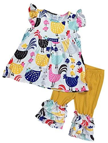 Toddler Girls 2 Pieces Pant Set Chicken Chick Farm Ruffles Capris Kids Outfit White 2T XS (Capri Outfit Set)