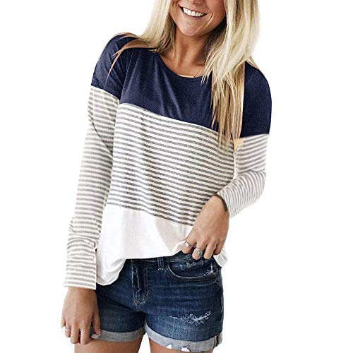 THANTH Womens Long Sleeve T Shirts Round Neck Stripe Cotton Shirts Casual Tops Tees Navy M