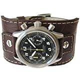 Eulit Cuff 18mm Brown Riveted Crocodile-Grain Leather Watch Strap