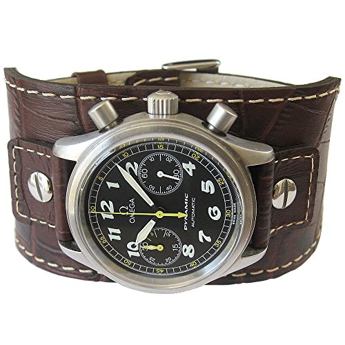 Eulit Cuff 22mm Brown Riveted Crocodile-Grain Leather Watch Strap