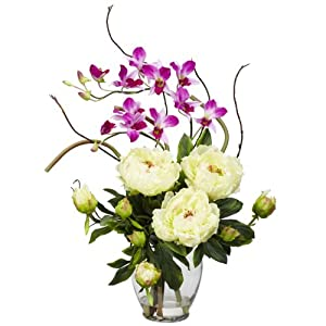 Nearly Natural 1175-WH Peony and Orchid Silk Flower Arrangement, White 27