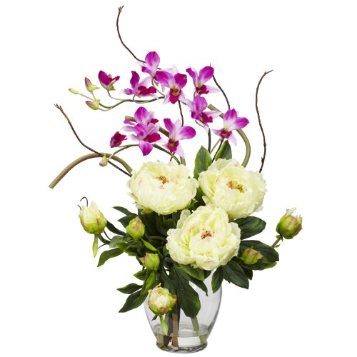 (Nearly Natural 1175-WH Peony and Orchid Silk Flower Arrangement, White)