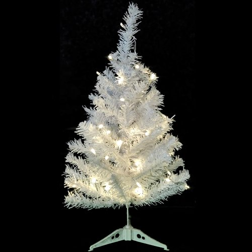 Wideskall Tabletop Christmas Pine Tree 2 Feet Artificial with 30 LED Warm White Lights (Ft Christmas White Tree 1)