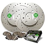Front Premium Drilled and Slotted Brake Rotors and severe Duty Metallic Pads BAXMBKG23952MDS