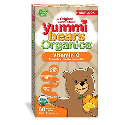 Yummi Bears Organics Hero Nutritionals Vitamin C Gummy Vitamin for Kids Dietary Supplement Promotes Healthy Immunity Vegan Friendly, 60 Yummi Gummies