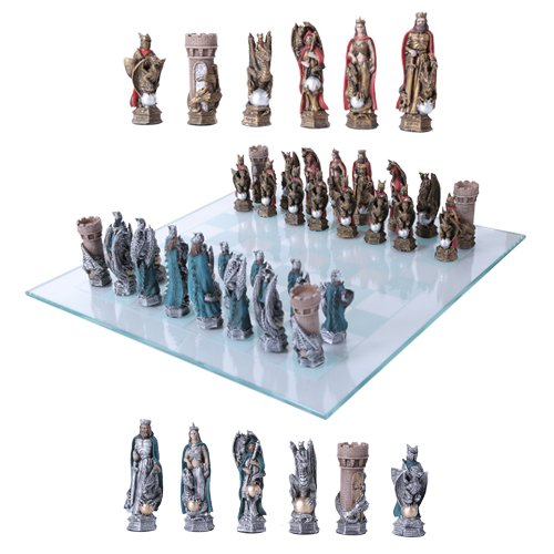 (King Arthur Legend Merlin Dragons And Magic Hand Painted Resin Chess Pieces With Glass Board)