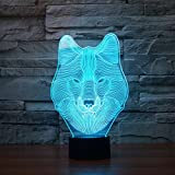 3D Lamp LED Animal Wolf Decor Table Desk Optical Illusion Lamps 7 Color Changing Lights