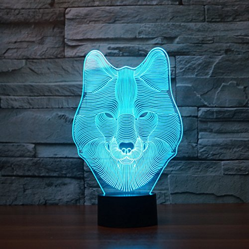 mp LED Night Light Animal Table Lamp Optical Touch Transform 7 Color Lights Birthday Gift Lights Business Gift Lights (Wolves Touch Lamp)