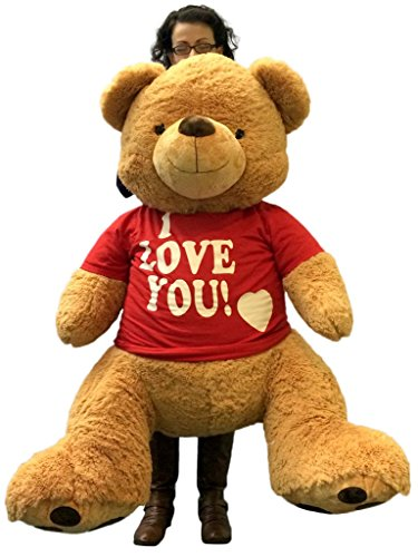 Giant 4 foot teddy bear wearing removable tshirt i love you brown giant 4 foot teddy bear wearing removable tshirt i love you brown soft 48 inch teddybear valentines voltagebd Gallery