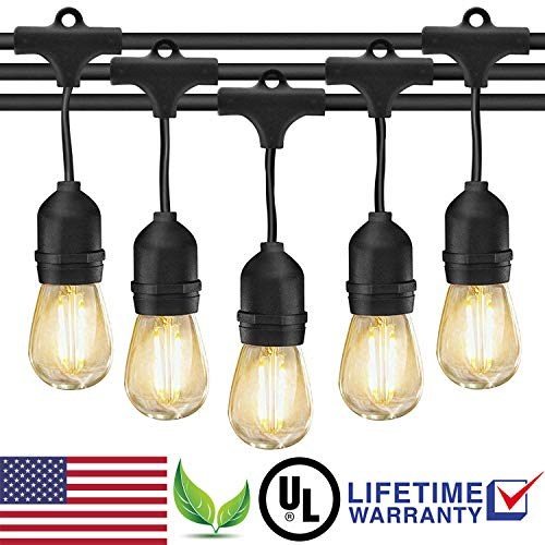 Vintage 1 Garden (Outdoor String Lights LED Patio Edison Bulb String Lights, 49ft Heavy Duty Commercial Waterproof Dimmable Patio String Lights, 15 x E26 Sockets, 1.5W Vintage Bulbs(1 Spare) for Backyard Porch Garden)