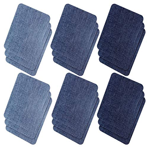 Ebateck Iron On Denim Patches for Jeans Blue, 18 Pcs Large Size, Fabric Repair Patch kit for Clothing Cotton Jeans No-Sew (Upgrade Adhesive 0.12), 3 Assorted Blues Colors (4.9