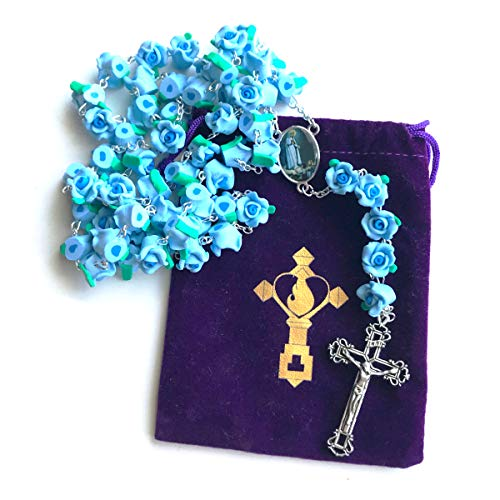 Rosary Beads Necklace For Women or Men - Catholic Girls or Boys First Holy Communion Gift - Heavenly Blue Roses Fatima Rosary with Free Velvet Pouch - Bible Crucifix Virgin Mary Rosario Prayer Pendant