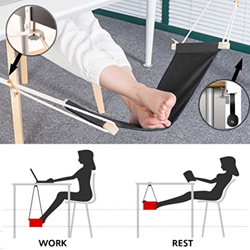 Foot Hammock Under Desk and Headphones Holder Portable Ergonomic Adjustable Home Office Desk Foot Rest Tool with Upgraded Screw Airplane Travel Foot Rest Accessories (Black) by HYNEWHOME