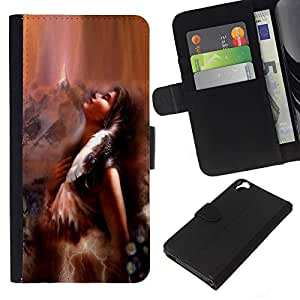 KingStore / Leather Etui en cuir / HTC Desire 820 / Indian Art Mujer Chica Marrón Naturaleza Pluma
