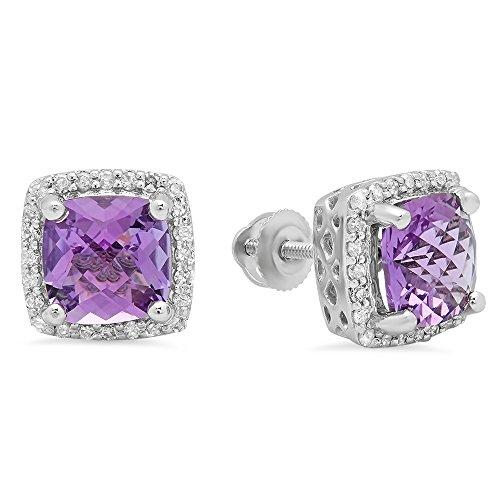Gold Amethyst Diamond Earrings - 6