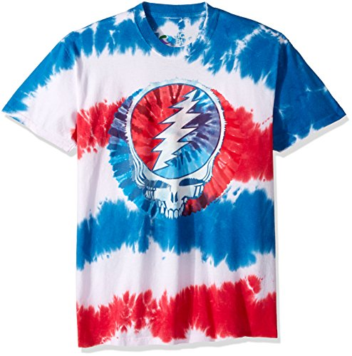 Liquid Blue Men's Grateful Dead American SYF Tie Dye Short Sleeve T-Shirt, Multi, Large