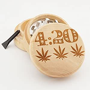 420 Design Engraved Premium Natural Wooden Grinder # PW042716-45
