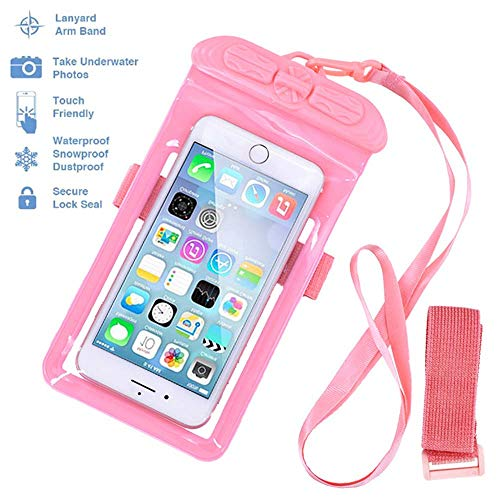 Waterproof Phone Case Dry Bag with Armband and Lanyard, Tested 30m Underwater, Fits Oneplus Pro7 6t iPhone X XR XS 8 Plus Samsung S10 S9 Huawei P30 Mate 20 Pro(7x4) (Pink)