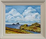 The Skellig Islands, Kerry - Framed Oil Painting, (featured in Star Wars) Original & Unique Art from Ireland