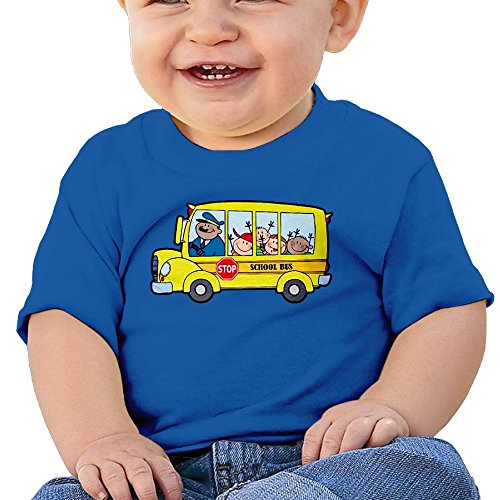 Chengrangst Cartoon School Bus Toddler/Infant Short Sleeve Cotton T Shirts Royalblue 24 Months ()
