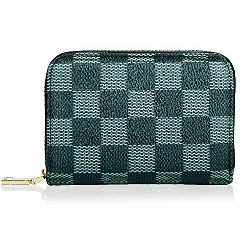 Credit Card Holder for Women Men, RBEIK RFID Blocking Accordion Style ID Business Name Card Wallet Case, Card Slots Zipper Travel Wallet Purse Pocket for Ladies Girls Boys (A1#Plaid-Black)