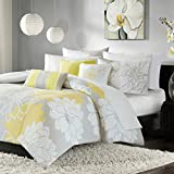Madison Park Lola Duvet Cover Full/Queen Size - Yellow, Grey, Floral, Flowers Duvet Cover Set – 6 Piece – Cotton Sateen, Cotton Poly Crossweave Light Weight Bed Comforter Covers
