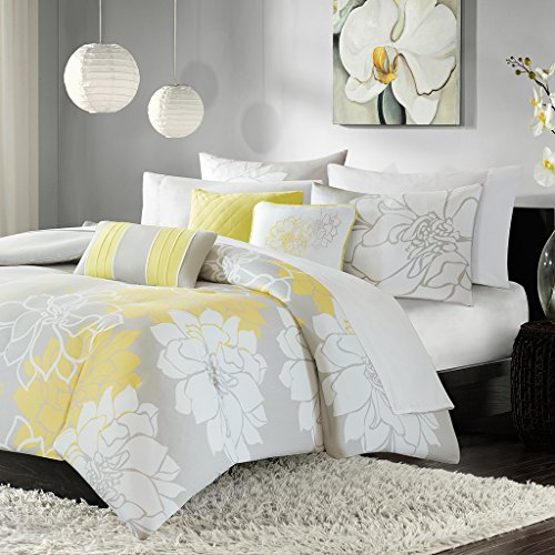 Madison Park - Lola 6 Piece Cotton Duvet Cover Set - Yellow - Full/ Queen - Floral Print - Includes  1 Duvet Cover , 3 Decorative Pillows , 2 (Lola Pillow)