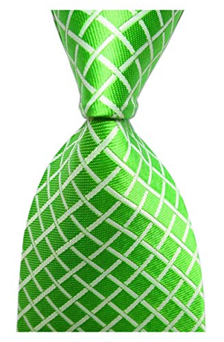 Secdtie Mens Spring Green Gingham Seft Tie Modern Woven Party Cool Necktie 3.15