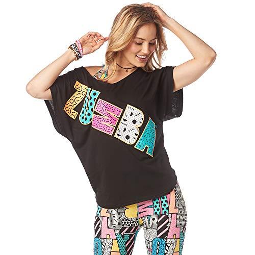 Zumba Women's Fashion Print V-Neck Workout Tee, B2B Black, Medium/Large (Zumba Clothing Instructor)