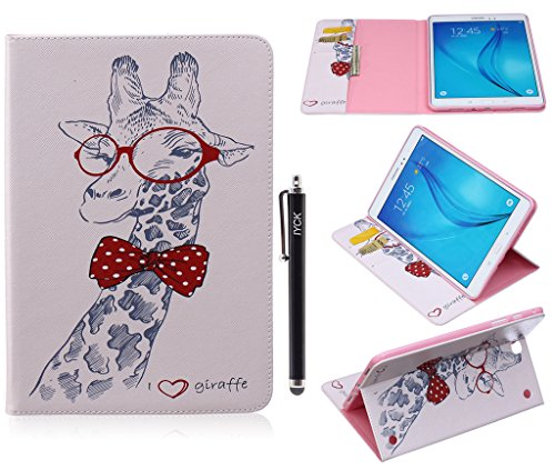 Shell Folio (Galaxy Tab A 8.0 Case, iYCK Premium PU Leather Flip Folio [Card Slot] Protective Shell Wallet Case Cover with Stand Kickstand for Samsung Galaxy Tab A 8inch SM-T350 - Cartoon Giraffe)