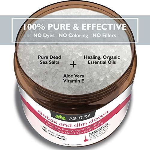 """DETOX & SLIM DOWN"" - 100% Pure Dead Sea Bath Salts / Cleanse, Purify & Fight Cellulite / Rich In Vital Healing Minerals / Organic Essential Oils of Eucalyptus, Tea Tree and Lemon - 16oz"