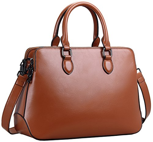 Image of Heshe New Hot Sell Double Zippered Tote Top-handle Cross Body Shoulder Bag Handbag Purse Messenger Bag for Women (Brown-r)