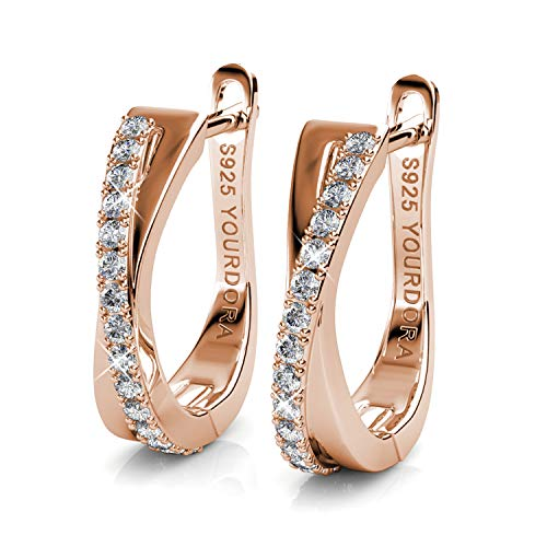 YOURDORA Women 925 Sterling Silver Twisted Hoop Earrings with Swarovski Elements Crystals Idea Gifts for Her (Rose Gold Plated)